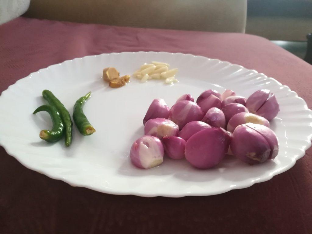 shallots,green chillies, ginger, garlic